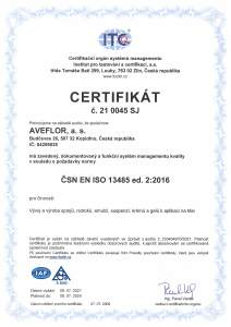 Certificate 13485 2015 CZ ITC